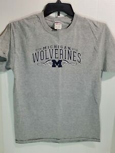 Jerzees Adult Med Unisex T Shirt Michigan Wolverines College Gray Short Sleeve