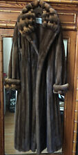 PREMIUM YORK FURRIER MINK L XL LONG COAT FEMALE SKINS DARK SABLE BROWN & TAN FUR