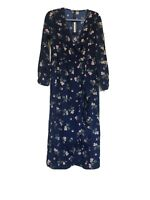 Influence Navy Floral Dress Size 12 Long Length V Neck Pretty New with tags