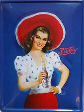 PLAQUE METAL publicitaire vintage PEPSI COLA PIN UP AU CHAPEAU   - 40 X 30 cm