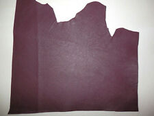 """Dark Maroon Cowhide Upholstery Leather Scraps 9""""x15"""" avg 0.9mm thick #9106"""