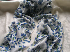 D333 White with Navy Blue Green Floral Leaves Lightweight Lady Scarf Pashmina