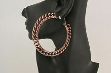 "New Women 3"" Big Chunky Hoops Thick Bronze Copper Metal Chains Fashion Earrings"