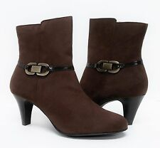 NIB Karen Scott Brown Faux Suede Mid Calf Ankle Boots Booties Heels 11M (S531)