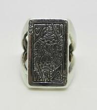 VINTAGE STERLING SILVER POKER QUEEN OF HEARTS MEN'S RING  SIZE 8.75 - LB-C1961