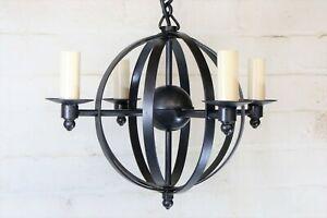 Ceiling Light Jim Lawrence Wrought Iron Globe Pendant Chandelier 4 Light Black