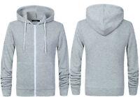Mens Fleece Hoodie Zip Up Hoody RockBerry Premium Quality Brand New Grey Top