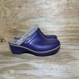 Crocs Women's Eva Faux Fur Lined Mule Clogs Size 8 Purple 11552