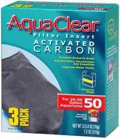 AquaClear 50 Activated Carbon Inserts, Aquarium Filter Replacement Media, 3-Pack