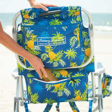 Tommy Bahama 5 Position Beach Chair 2020 Blue with Yellow Pineapple Print NEW!