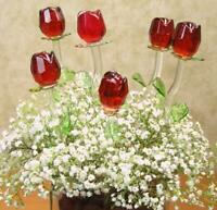 Long Stem 12 in. Red Glass Rose with Green Leaves, Valentine's Day Mother's Day