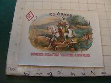 vintage unused CIGAR PAPER LABEL: EL ARABE great vignette of man on white horse