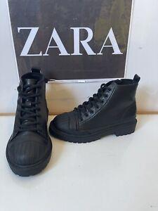 Zara Comfy Black Leather Shoes Size UK 13 EU 31 NEW