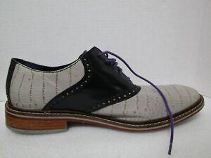 Cole Haan Colton Oxford Paloma Croc Print Leather/Black C11893 RARE Size 12 M