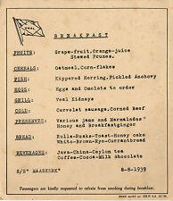 August 8, 1939 Ss Maaskerk Breakfast Menu, Kippered Herring and More