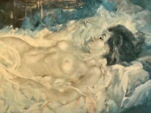 "Vintage Julian Ritter Signed Oil Painting (Print?) American Venus Nude 40"" x 22"""
