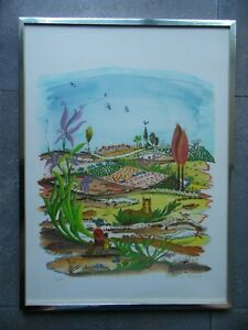 Woman + Child in Naive Flowering Landscape +Horse. Annette Ollivary Signed LE
