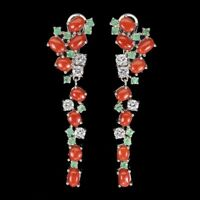 Natural Oval Orange Coral Italy 6x4mm Emerald Cz 925 Sterling Silver Earrings