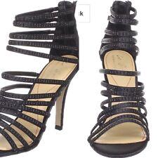 Le Soir Pour La Victoire Briller Strappy Black Satin Heels. 8.5M