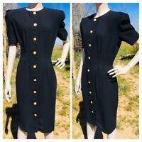 Vintage CHAUS Black Button-Down Wiggle Dress Gold Pearl Buttons Size 8