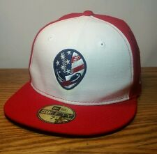 New Era 7 1/4 fitted red american  alien baseball Cap Hat 59 fifty