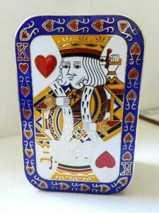 Cloisonne Metal Vintage Card Box In the Form of The King of Hearts - ORIGINAL