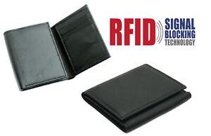 MENS RFID PROOF LEATHER ULTRA SLIM CREDIT CARD HOLDER NOTE CASE WALLET BLACK 185