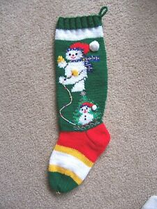 NANCY'S HAND KNIT PERSONALIZED CHRISTMAS STOCKINGS - LITTLE SNOWMAN & SLED