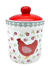 Porcelain Jar Container Tea Coffee Sugar Ceramic Red Flowers Canister Chicken