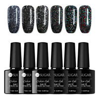 UR SUGAR 7.5ml Black Crystal Gellack Holo Glitzer Soak Off Nagel Gel Varnish