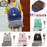 Girl Canvas Backpack Casual School Bag College Laptop Travel Backpack USB Charge