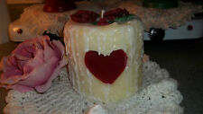 HIGHLY SCENTED 4X4 GRUBBY CAKE PILLAR CANDLE W/ HEART ~U PICK SCENT~VALENTINE