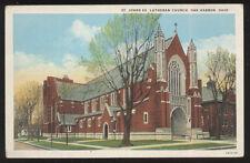 1920s POSTCARD OAK HARBOR OH ST JOHN EVANGELICAL LUTHERAN CHURCH
