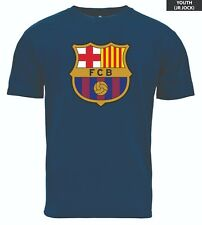 FC BARCELONA YOUTH T-SHIRT TEAM CREST LOGO SIZES SMALL-XL OFFICIALLY LICENSED