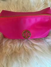 NEW Tory Burch Hot Pink Cosmetic Makeup Bag Pouch STYLISH CUTE ROOMY