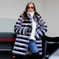Women Chinchilla Real Rex Rabbit Fur Coat Stand Collar Jacket Striped Overcoat