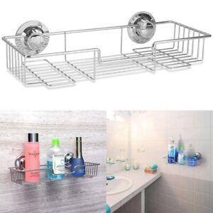 Stainless Steel Suction Cup Basket Shower Bathroom & Kitchen Storage Shelf h'