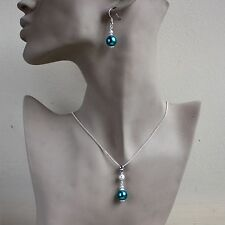 Teal blue green pearls pendant necklace earrings silver wedding jewellery set