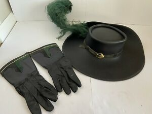 Renaissance Fair Musketeer Noble Men Costume Genuine Leather Hat Gloves Theater