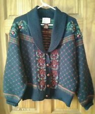 Susan Bristol 1990s 100% Wool Cardigan Sweater, Jacket Blue Floral Checkered Sm