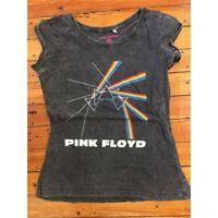 Rockoff Trade Women's Multi Logo Acid Wash T-shirt, Grey, X-large - Pink Floyd