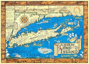 Long Island New York NY 1933 Historical Map 20x28