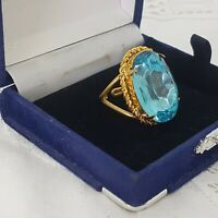 VINTAGE 60s Blue Sparkly Costume Ring Size N Adjustable Large Oval Glass Faceted