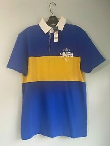NEW $125 Polo Ralph Lauren Blue Yellow Red White Rugby Polo Shirt Small S
