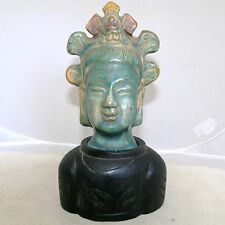 """Antique ? Chinese Turquoise Glazed Clay Buddha Head Bust on Wood Stand  (7.45"""")"""