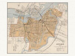Old Antique Decorative Map of Ottawa Canada Chalifour ca. 1915