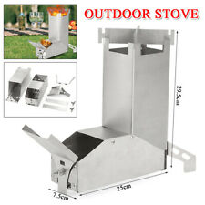 Outdoor Collapsible Wood Burning Stainless Steel Rocket Stove Backpacking