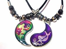 New BEST FRIEND Mood Color Mermaids 2 Pendants Necklace Set BFF Friendship