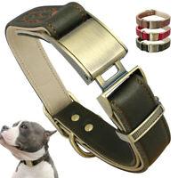 Luxury Genuine Leather Dog Collar Heavy Duty Lockable Adjustable French Bulldog