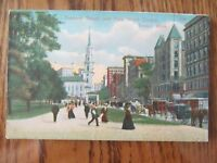 Vintage Postcard Tremont Street Park St Church Boston Mass Horse Buggy